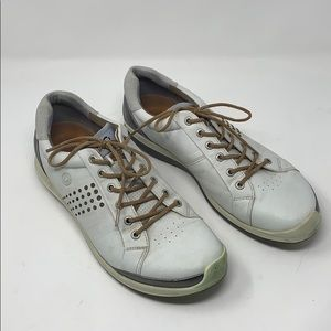 Ecco Mens Yak Leather White Soft Spike Golf Shoes
